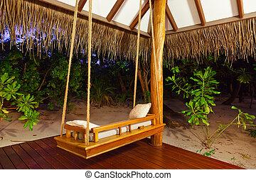 bungalow, coucher soleil, maldives, -, plage