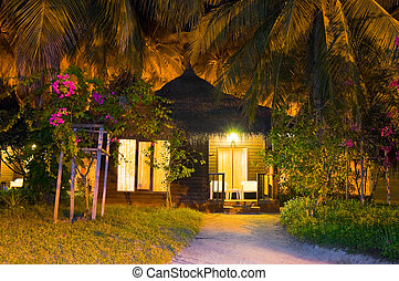 bungalow, plage, nuit
