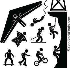 bungee, sport, planeur, extrême