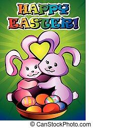 bunnies., paques, deux