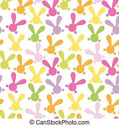 bunny., coloré, seamless, patern, vecteur, paques