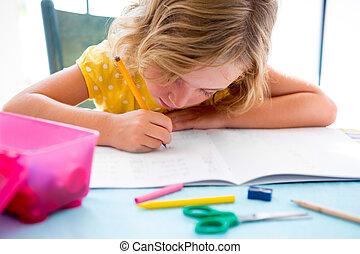 bureau, écriture, étudiant, enfant, girl, devoirs, gosse