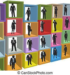 bureau affaires, gens, boîtes, box, ressources