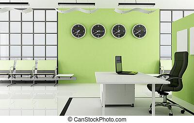bureau, attente, espace vert