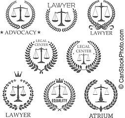bureau, balances, justice, icônes, avocat, droit & loi