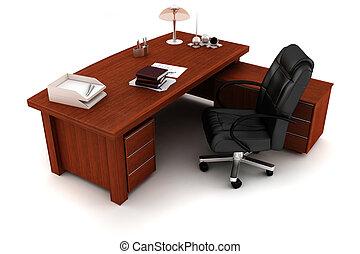 bureau, blanc, cadre, 3d