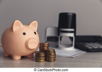 bureau, bureau., économie, pièces, pile, rose, financier, bois, banque, porcin, concept, gestion
