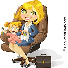 bureau, business, maman, dorlotez fille, chaise