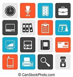 bureau, business, plat, icônes