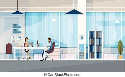 bureau, business, séance, gens, co-working, ensemble, centre, fonctionnement, créatif, bureau