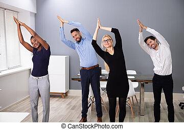bureau, businesspeople, yoga