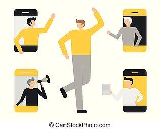 bureau, concept, gens, ensemble, business