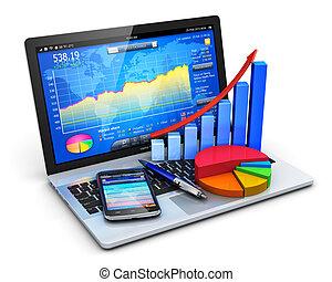 bureau, concept, mobile, banque