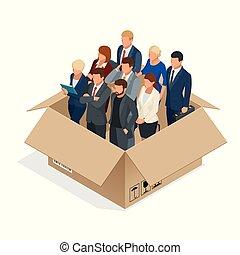 bureau, concept., professionnel affaires, isolated., staff., multi-culturel, équipe