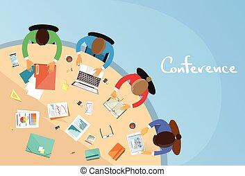 bureau, conférence, business, séance, gens, fonctionnement, collaboration, table