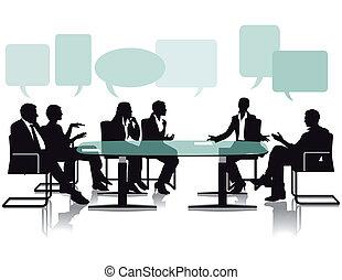 bureau, débat, discussion