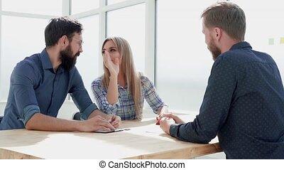bureau., directeurs, hr, conduite, entrevue