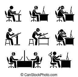 bureau., employé, informatique, ordinateur portable, fonctionnement