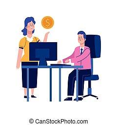 bureau, femme, bureau, dessin animé, homme affaires, fonctionnement