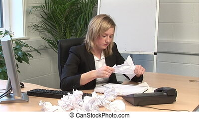 bureau, femme, frustré