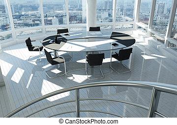 bureau, fenetres, beaucoup, moderne, spirale, escalier