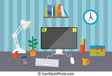 bureau fonctionnant, espace