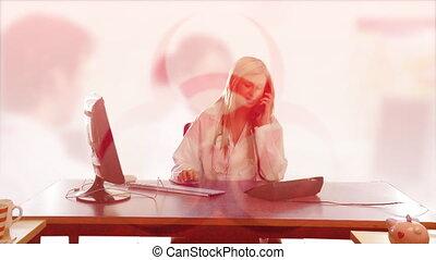 bureau fonctionnant, femme affaires