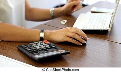 bureau fonctionnant, haut, lieu travail, fin, girl
