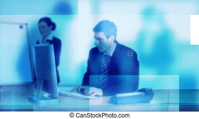 bureau fonctionnant, homme affaires