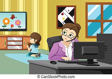 bureau fonctionnant, mère