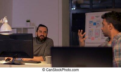 bureau, fonctionnement, créatif, tard, informatique, équipe