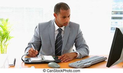 bureau, fonctionnement, sien, homme affaires
