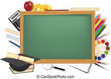 bureau, fournitures, école, vert