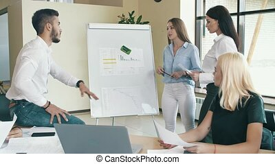 bureau, gens fonctionnement, concept., démarrage, ensemble
