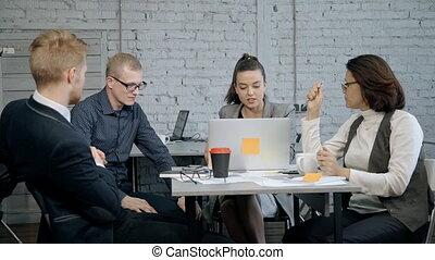 bureau, gens fonctionnement, démarrage, nouveau, discuter