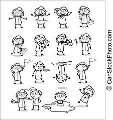 bureau, girl, concepts, vecteur, illustrations, -, dessin, collection