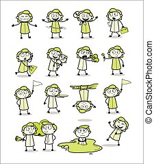 bureau, girl, concepts, vecteur, illustrations, -, vendange, collection