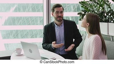 bureau., idées, discuter, équipe, business, projet