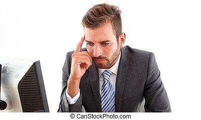 bureau, inquiet, sien, homme affaires