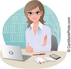 bureau, joli, affaires femme