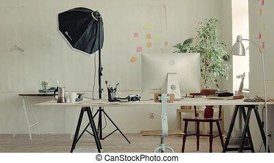 bureau, moderne, intérieur, ou, vide, studio.