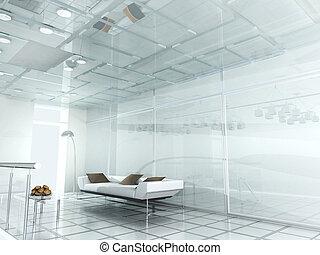 bureau, moderne, nouveau, 3d