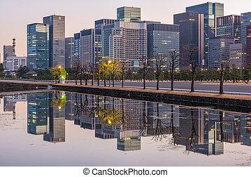 bureau, moderne, tokyo, bâtiments, japan.