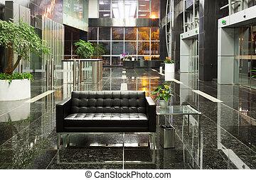 bureau, moderne, vestibule, bâtiment