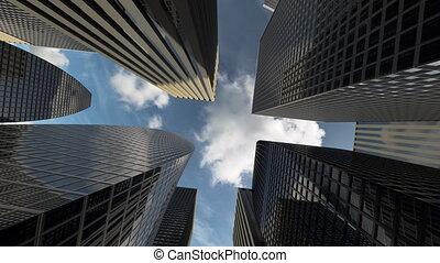 bureau, monter, centre, district, élevé, business, bâtiments, gratte-ciel