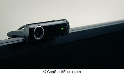 bureau, ou, chambre à coucher, webcam, écran