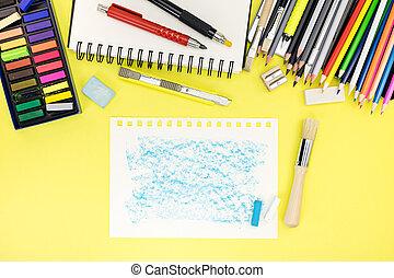 bureau, papier, cahier, pupille, fond, stationnaire, autre, lieu travail