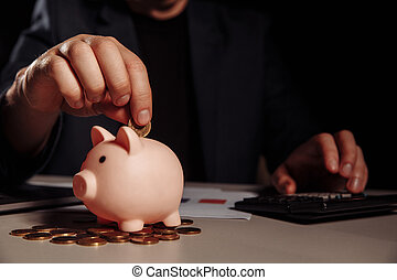 bureau, porcin, profit, banque, calculatrice, bureau, dénombrement, homme affaires, pièces