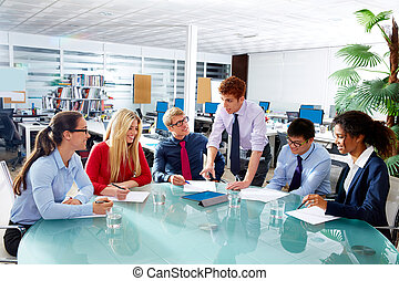 bureau, professionnels, cadre, réunion équipe
