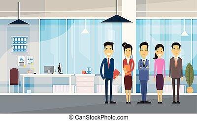 bureau, professionnels, groupe, asiatique, moderne
